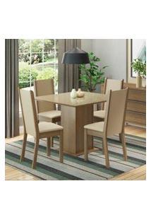 Conjunto Sala De Jantar Moscou Plus Madesa Mesa Tampo De Vidro Com 4 Cadeiras Marrom
