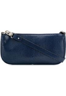 By Far Rachel Lizard-Skin Effect Shoulder Bag - Azul