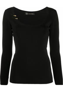 Versace Blusa De Tricô - Preto