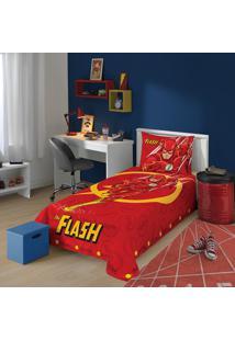 Jogo De Cama Solteiro Estampado Liga Da Justiça The Flash 1,50 M X 2,10 M Com 2 Peças Lepper Vermelha