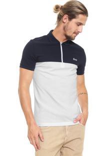Camisa Polo Lacoste Reta Bicolor Azul-Marinho/Branca