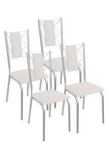 Kit 4 Cadeiras Lisboa Cromada Kappesberg 4C076 Branco
