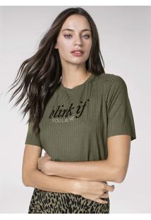 T-Shirt Em Malha Canelada De Viscose Com Estampa
