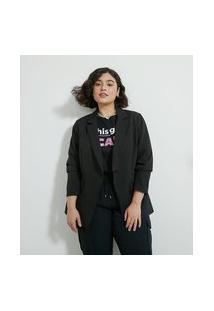 Blazer Em Crepe Alfaiataria E Alongado Com Fechamento De Botão Curve & Plus Size | Ashua Curve E Plus Size | Preto | 48