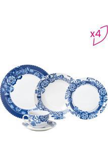 Aparelho De Jantar Santorini- Branco & Azul- 20Pçswolff