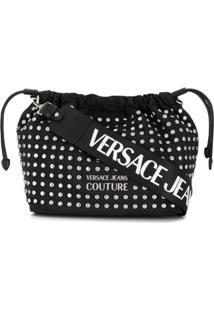 Versace Jeans Couture Bolsa Com Cordão De Ajuste E Tachas - Preto