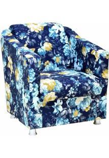 Poltrona Decorativa Laura Azul Estampado - Lyam Decor