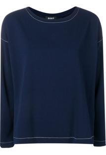 Dkny Suéter Com Pesponto Aparente - Azul