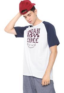Camiseta Ride Skateboard Manga Curta Estampada Branca/Azul-Marinho