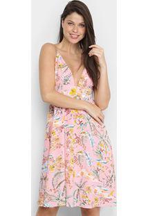 Vestido Ms Fashion Curto Floral - Feminino-Rosa