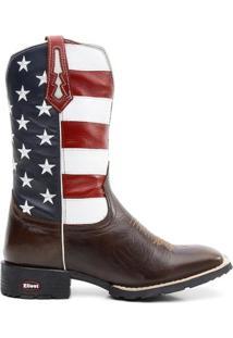 Bota Texana Bandeira Eua Bico Quadrado - Masculino-Marrom+Azul