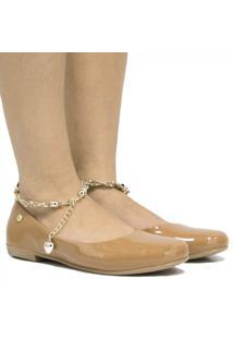 Sapatilha Zariff Shoes Verniz Pedras Feminina - Feminino-Nude