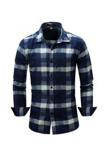 Camisa Masculina Com Listras Horizontais Manga Longa - Azul Escuro