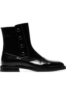 Alexander Mcqueen Ankle Boot Com Detalhe De Botão - Preto