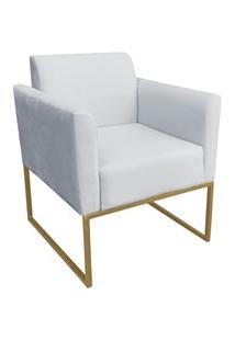 Poltrona Decorativa Base Industrial Dourada Maressa S10 Suede Cinza -