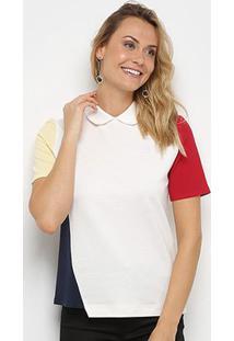 Camisa Polo Lacoste Botões Costas Feminina - Feminino-Off White