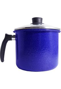 Caneco Agatha Azul Liso Esmaltado Com Tampa Vidro - 16 Cm
