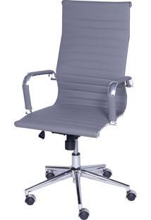 Cadeira Office Eames Esteirinha Alta Giratória Cinza Or Design