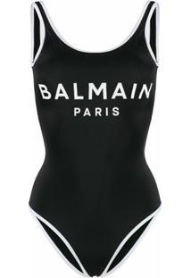 Balmain Maiô Com Estampa De Logo - Preto