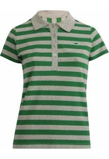 Camisa Polo Pau A Pique Listrada - Feminino-Verde