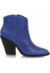 Luiza Barcelos Bota Cano Curto Com Textura - Azul