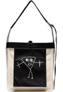 Plan C Neutral And Black Triangle Drawing Print Shoulder Bag - Neutro
