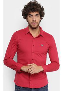 Camisa Social Polo Rg 518 Manga Longa Masculina - Masculino-Vermelho