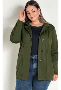 Casaco Verde Militar Com Botões Plus Size