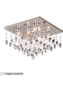 Hevvy Plafon Quadrado Com Pingentes Cristal & Inox 29X40Cm Bivolt