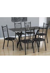 Conjunto De Mesa Miami Com 6 Cadeiras Lisboa Preto E Floral