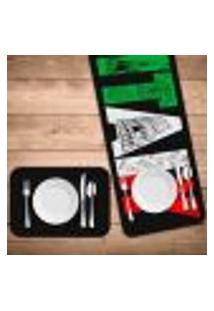 Jogo Americano Com Caminho De Mesa Italy Kit Com 2 Pçs + 2 Trilhos