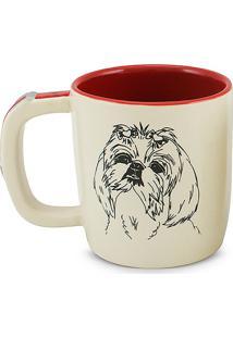 Caneca Coffe Pet-Lhasa Apso 350Ml-Mondoceram - Creme