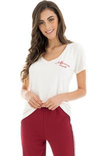 T-Shirt La Mandinne Bordada Influencer Mood Off White
