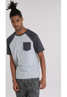 Camiseta Masculina Raglan Com Bolso Manga Curta Gola Careca Cinza Mescla