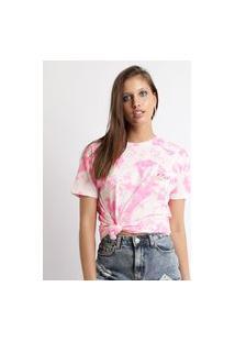 Blusa Feminina Pantera Cor De Rosa Estampada Tie Dye Manga Decote Redondo Rosa