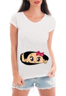 Camiseta Criativa Urbana Gestante Mãe Menina Bebe Espiando - Feminino-Branco