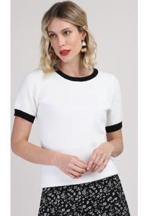 Blusa De Tricô Feminina Manga Curta Decote Redondo Branca