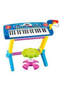 Piano Infantil C/ Banquinho E Microfone Azul