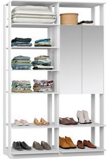 Guarda-Roupa Solteiro Modulado Clothes Ii Com Espelho 2 Pt Branco