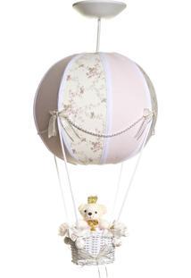 Lustre Balão Bolinha Ursinha Princesa Quarto Bebê Infantil Menina Potinho De Mel Rosa