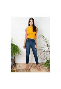 Calça Sisal Jeans Bolso Vazado Dark Blue