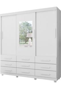 Guarda-Roupa Casal Com Espelho Ascoli 3 Pt Branco