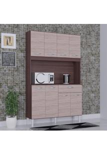 Cozinha Compacta 8 Portas 1 Gaveta Kit Cássia 6171 Capuccino/Amêndoa - Poquema