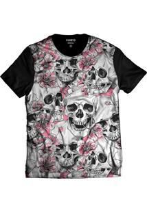 Camiseta Di Nuevo Crânios De Caveiras Skull Com Flores Preta