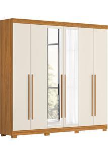 Guarda-Roupa Casal 6 Portas Com Espelho Belém-Móveis Albatroz - Carvalho Grife / Off White