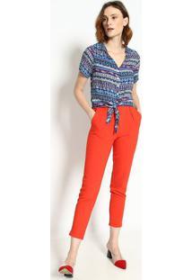 Camisa Abstrata Com Amarraã§Ã£O- Azul & BrancaãGua Viva