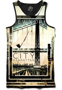 Camiseta Regata Bsc New York City Manhattan Sublimada Preto