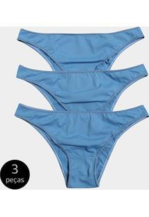 Calcinha Tanga Stellarum Básica 3 Peças - Feminino-Azul