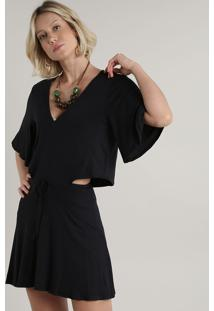 Vestido Feminino Curto Com Abertura Manga Curta Preto