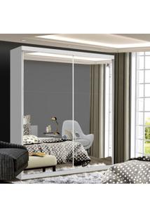 Guarda Roupa Solteiro Com Espelho 2 Porta De Correr Lila Siena Móveis Branco